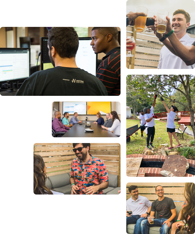 Collage of Tresta Team Members Working and Socializing